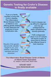 Crohn's Disease Testing is available through the IBD Center of Atlanta